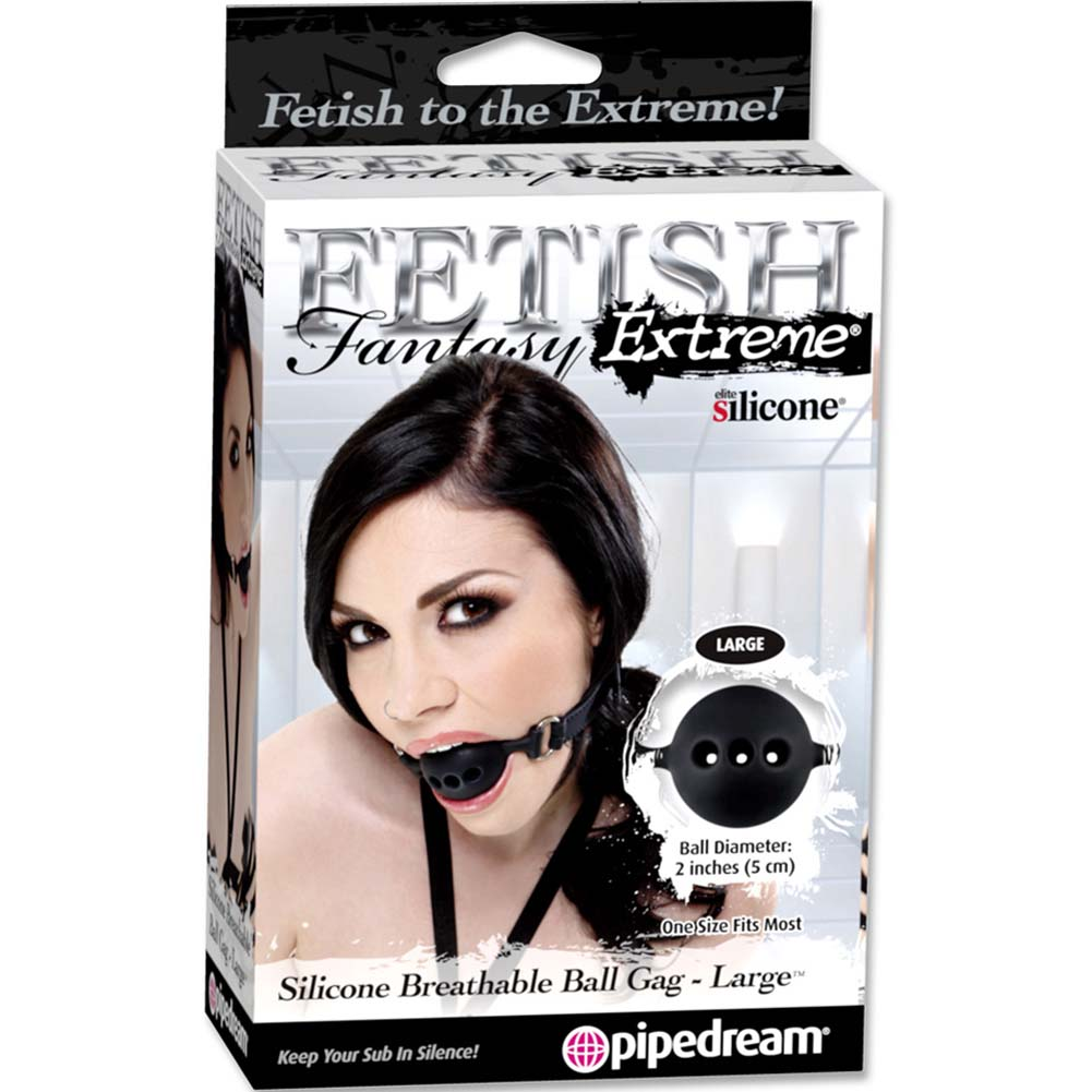 Fetish Fantasy Extreme Silicone Breathable Ball Gag Large Black - View #3