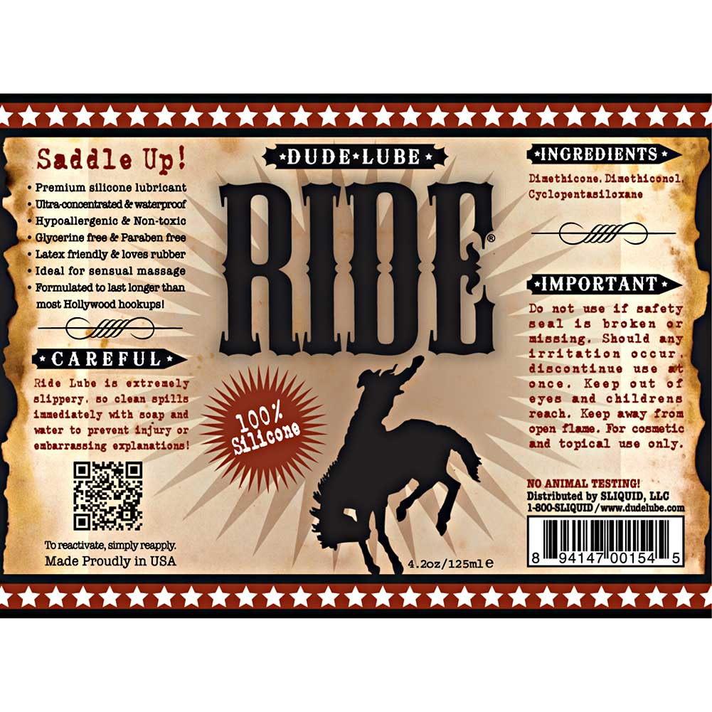 Sliquid Ride Dude Lube Silicone Based Lubricant 4.2 Fl. Oz. - View #1