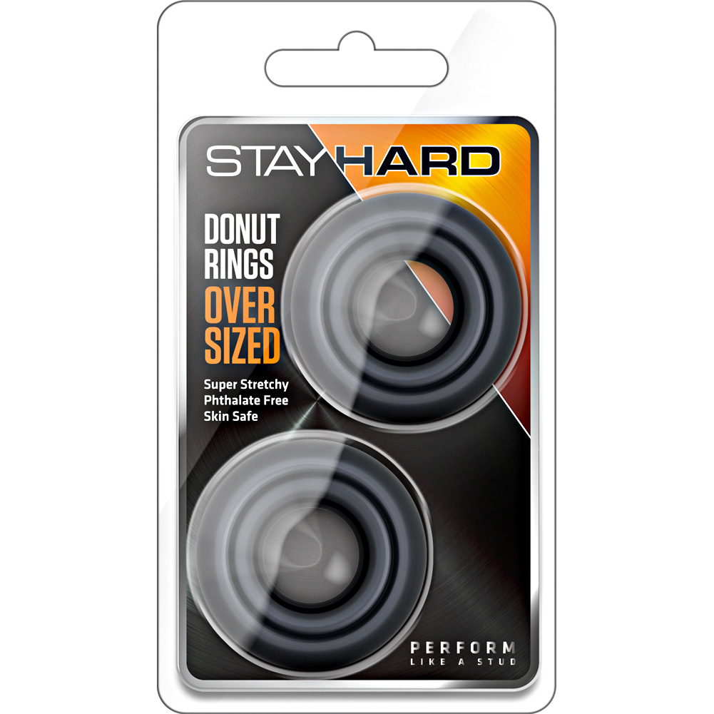 Blush Stay Hard Oversized Donut Rings 2 Piece Set Black - View #1