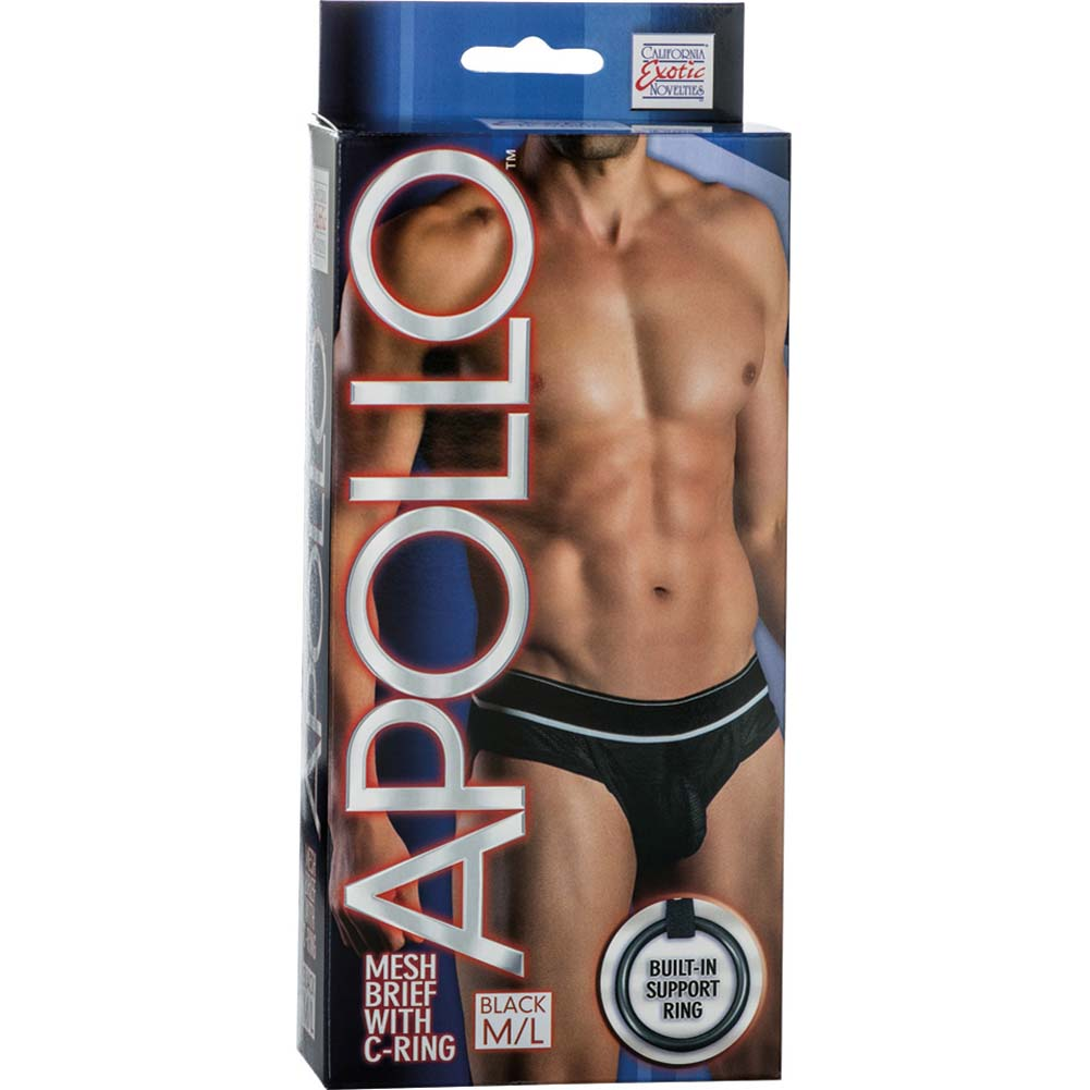California Exotics Apollo Mesh Brief with C-Ring Black Medium/Large Size - View #1