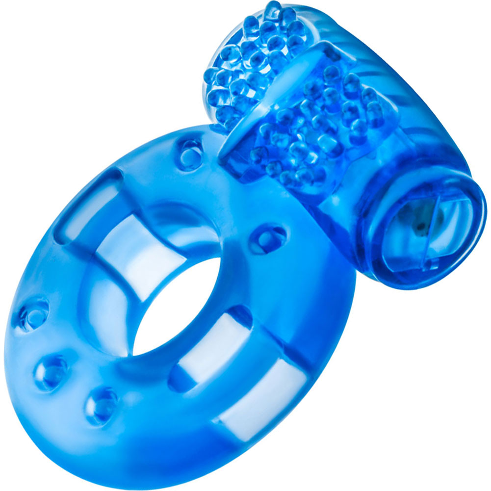 Blush Stay Hard Reusable Vibrating Cockring Blue - View #2