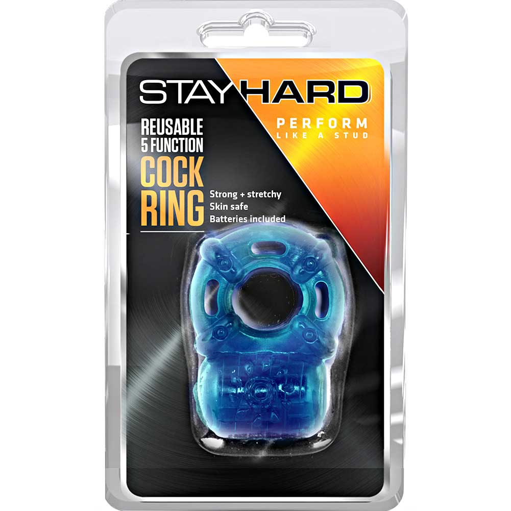 Blush Stay Hard 5 Function Vibrating Cockring Blue - View #1