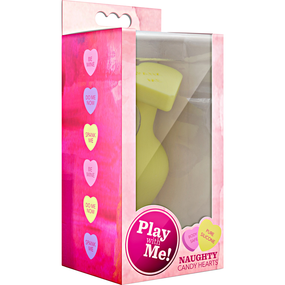 "Blush Play with Me Naughty Candy Heart SPANK ME Silicone Butt Plug 3.5"" Yellow - View #1"