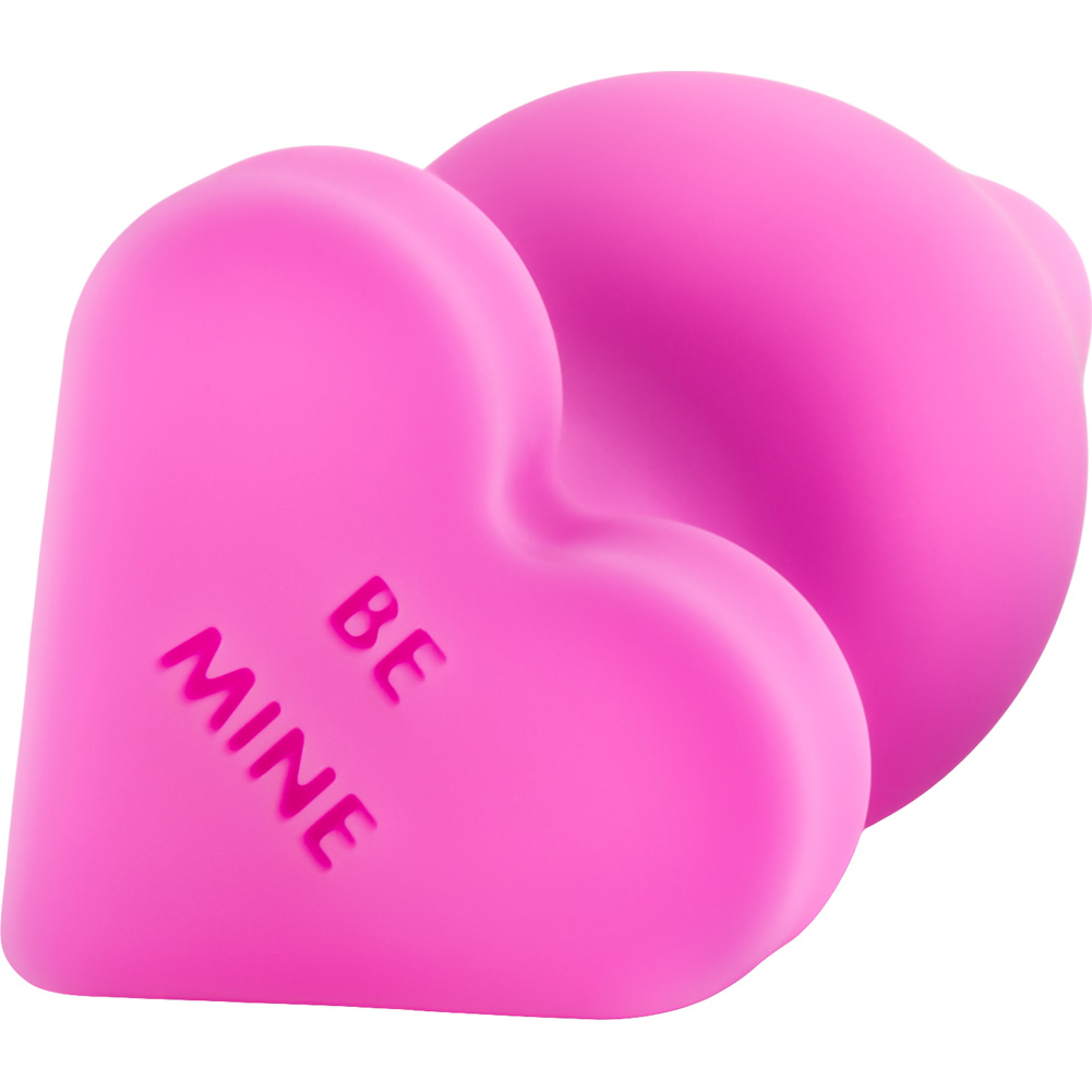 "Blush Play with Me Naughty Candy Heart BE MINE Silicone Butt Plug 3.5"" Pink - View #4"