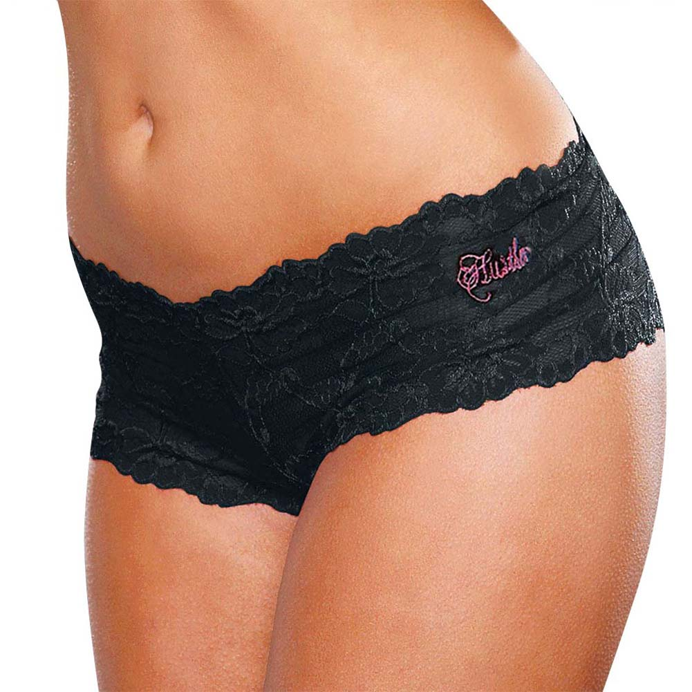 Hustler Crotchless Lace Boyshort Small/Medium Black - View #1