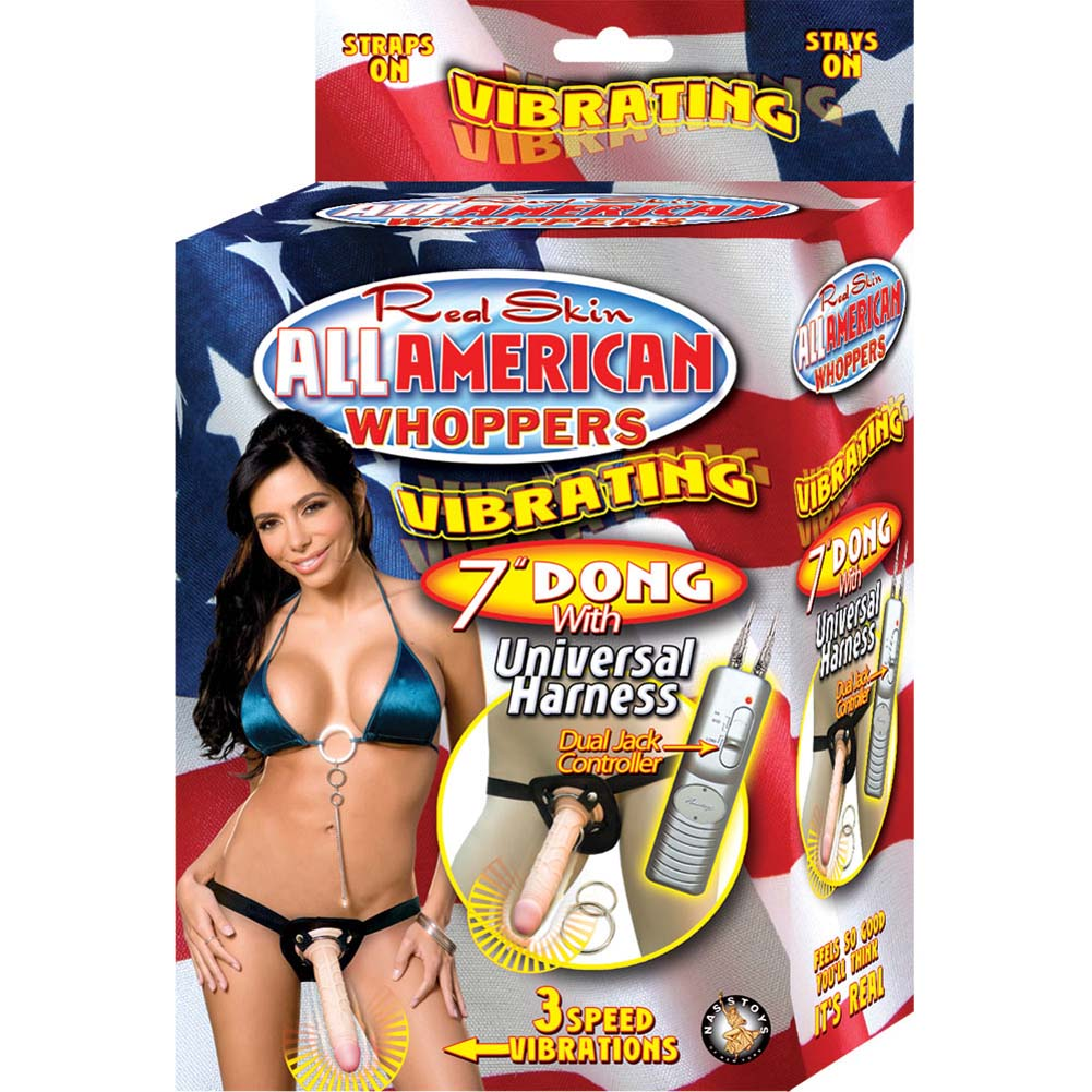 "All American Whoppers Universal Harness with 7"" Vibrating Dong Natural - View #4"
