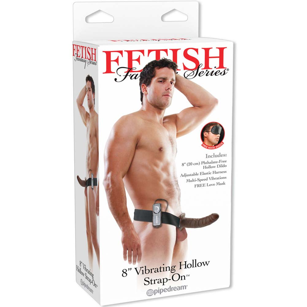 "Fetish Fantasy Series Vibrating Hollow Strap-On Dong 8"" Brown - View #4"