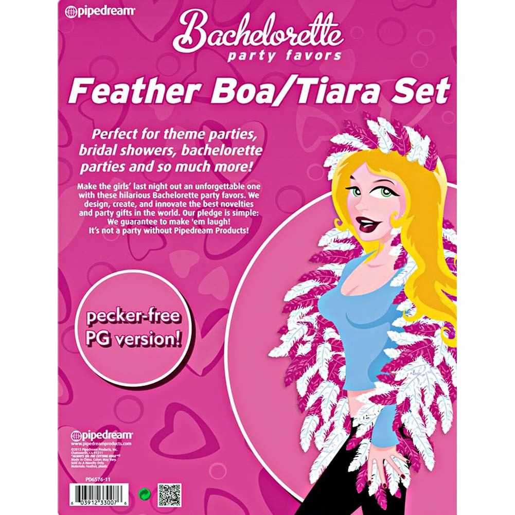 Bachelorette Party Favors Feather Tiara and Boa Set Pink - View #1