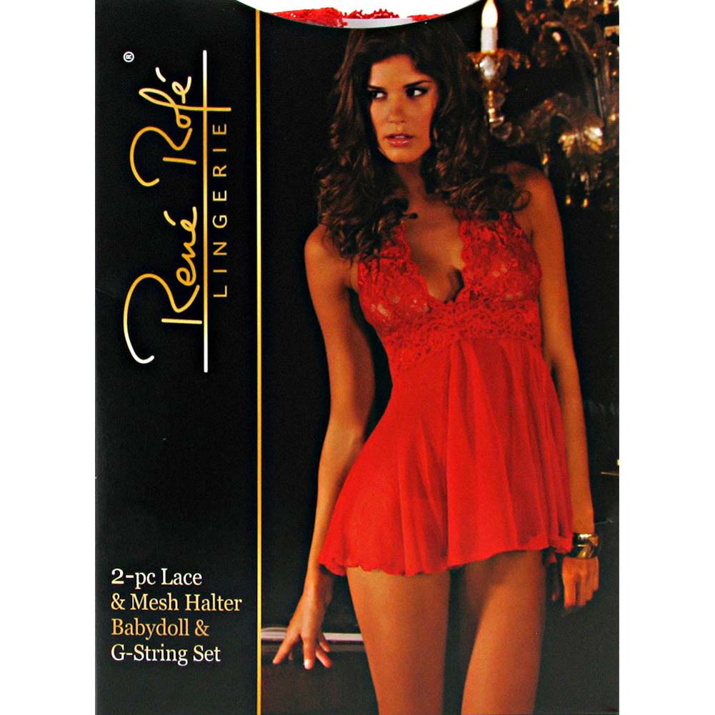 Rene Rofe Lace and Mesh Halter Babydoll Dress with Matching G-String Small Red - View #4