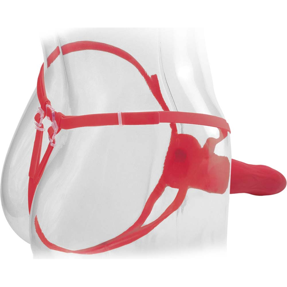 "Fetish Fantasy Elite 9"" Vibrating Hollow Strap-On Red - View #1"