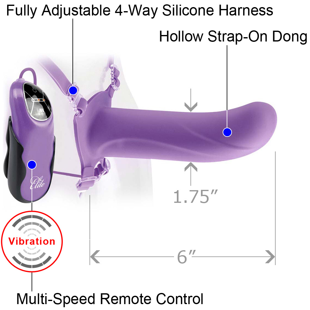 "Fetish Fantasy Elite 6"" Vibrating Hollow Strap-On Purple - View #1"