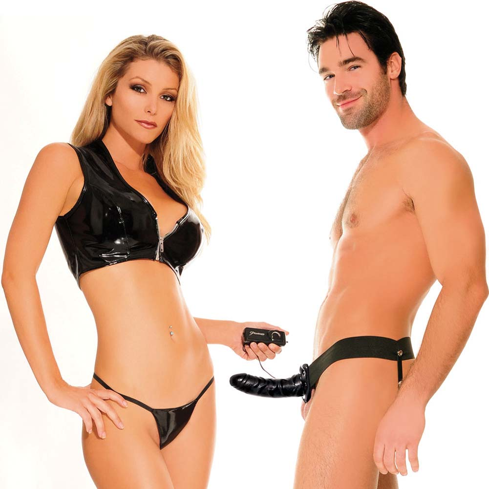 "Fetish Fantasy Series Vibrating Hollow Strap-On Dong for Him or Her 6"" Black - View #1"