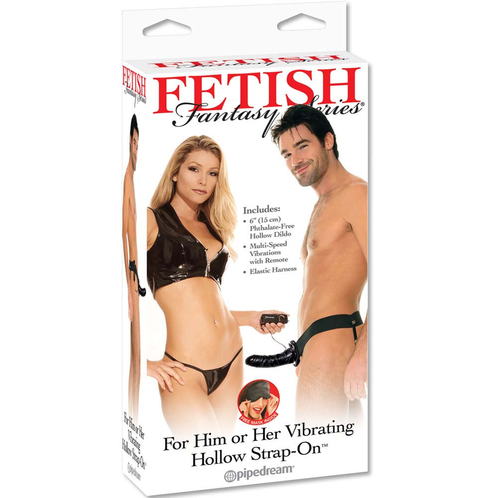 "Fetish Fantasy Series Vibrating Hollow Strap-On Dong for Him or Her 6"" Black - View #3"