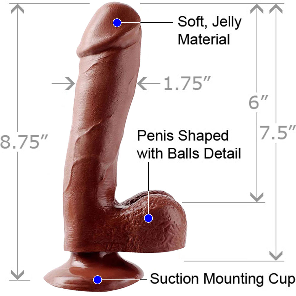 "Basix Rubber Works 7.5"" Ballsy Dong With Suction Cup Brown - View #1"