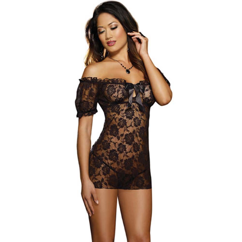 Stretch Lace Peasant Styled Babydoll Black - View #1