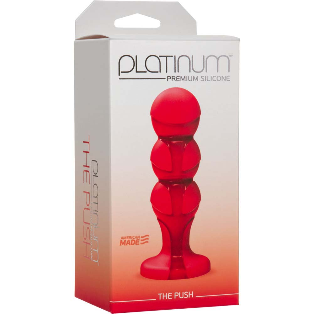 "Platinum Premium Silicone the Push Butt Plug 4.75"" Red - View #1"