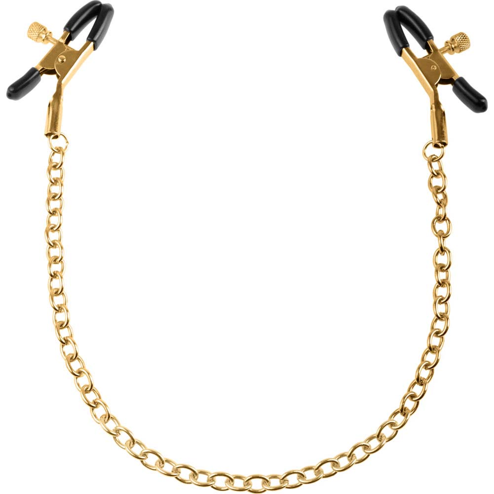 Fetish Fantasy Gold Chain Nipple Clamps Gold - View #2