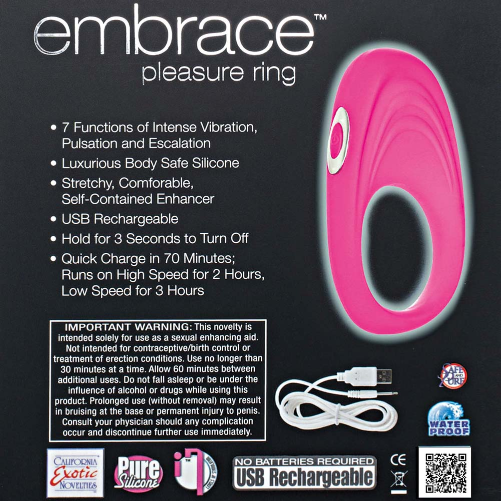 Embrace Pleasure Ring USB Rechargeable Silicone Cockring Pink - View #1