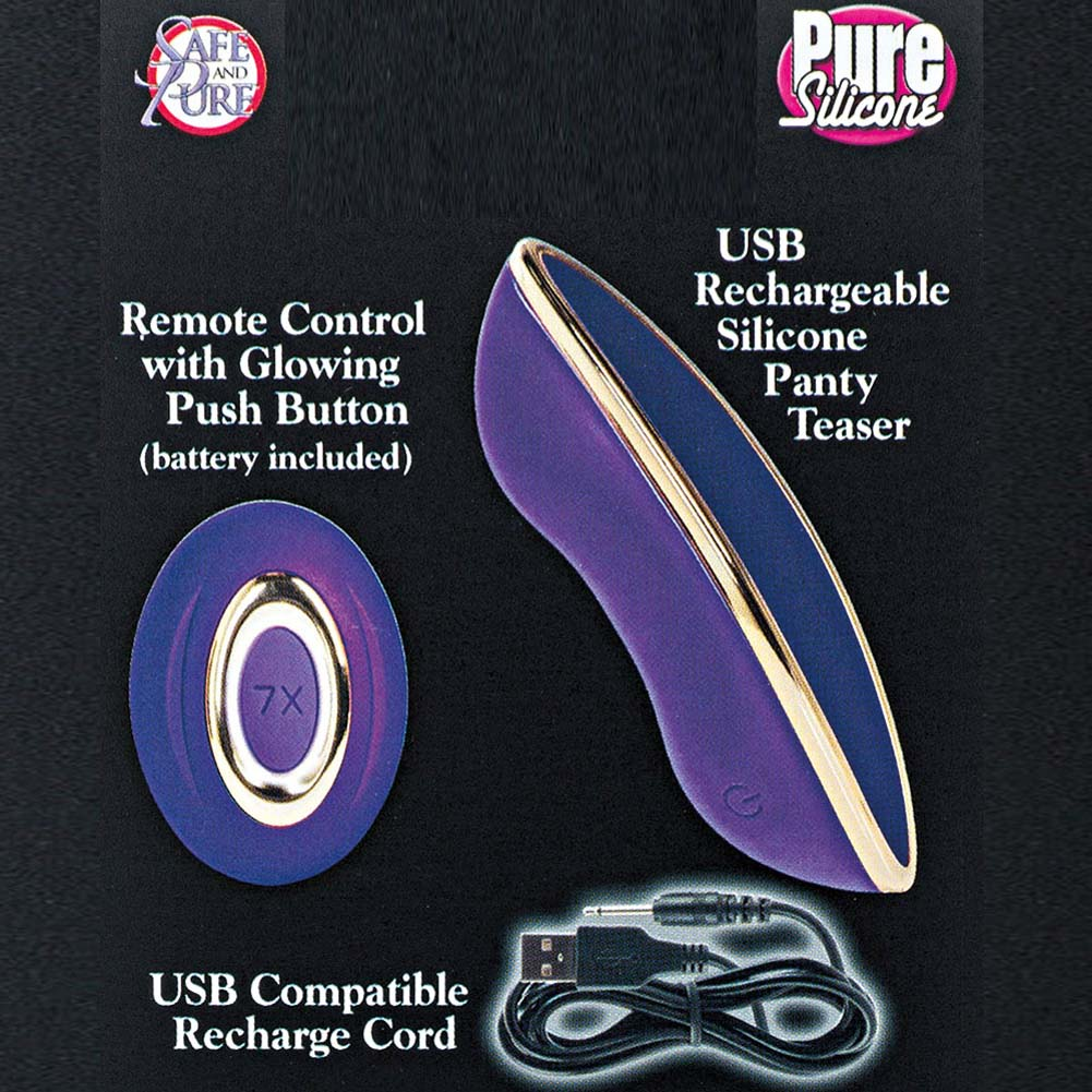 "California Exotics Entice Juliette Remote Control Silicone Panty Teaser 4"" Purple - View #1"
