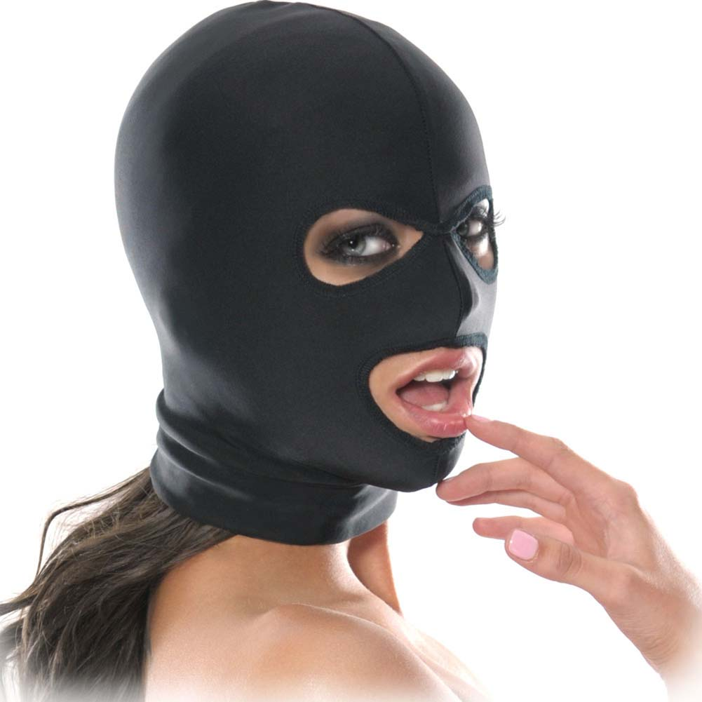 Fetish Fantasy Series Spandex 3 Hole Hood Black - View #2