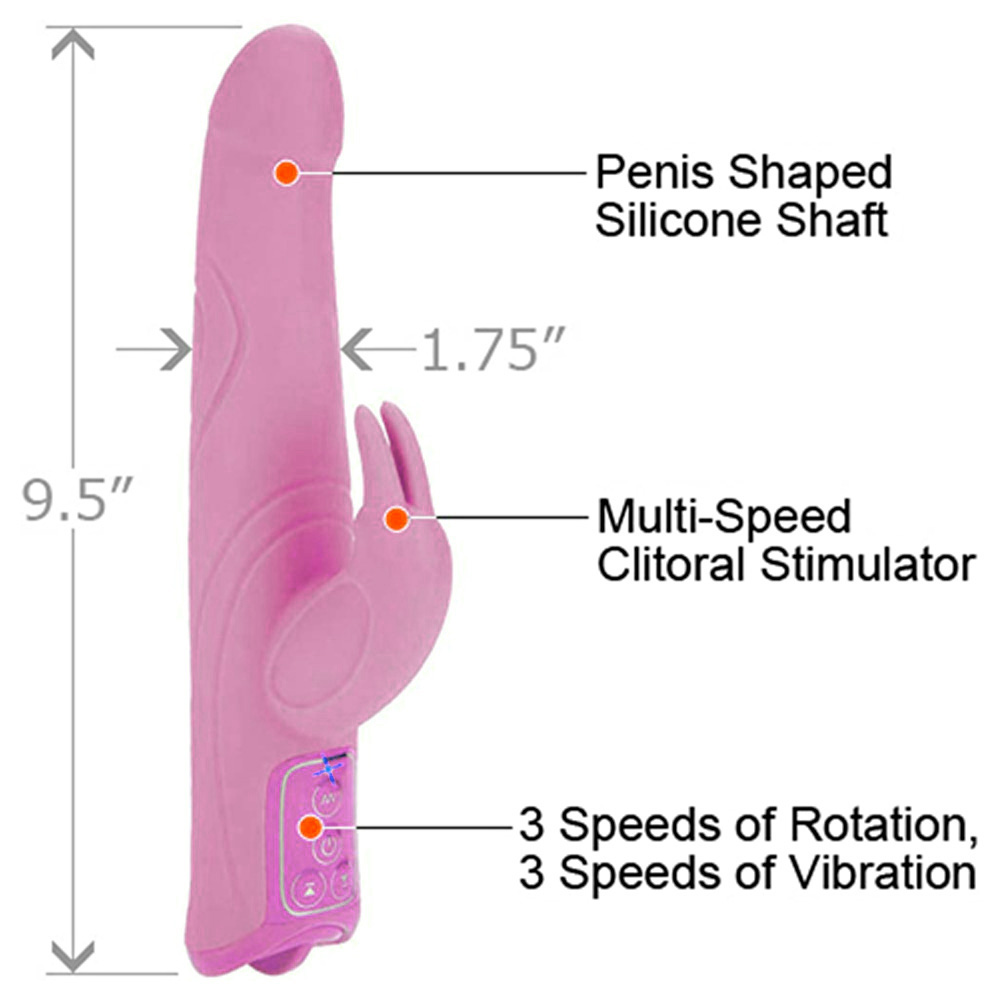 "California Exotics Triple Motor Silicone Jack Rabbit Female Vibrator 9.5"" Sensual Pink - View #1"