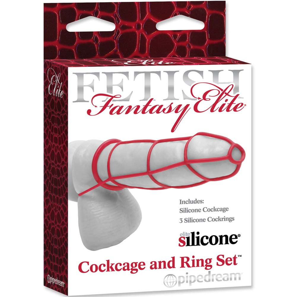 Fetish Fantasy Elite Silicone Cockcage and Ring Set Red - View #3
