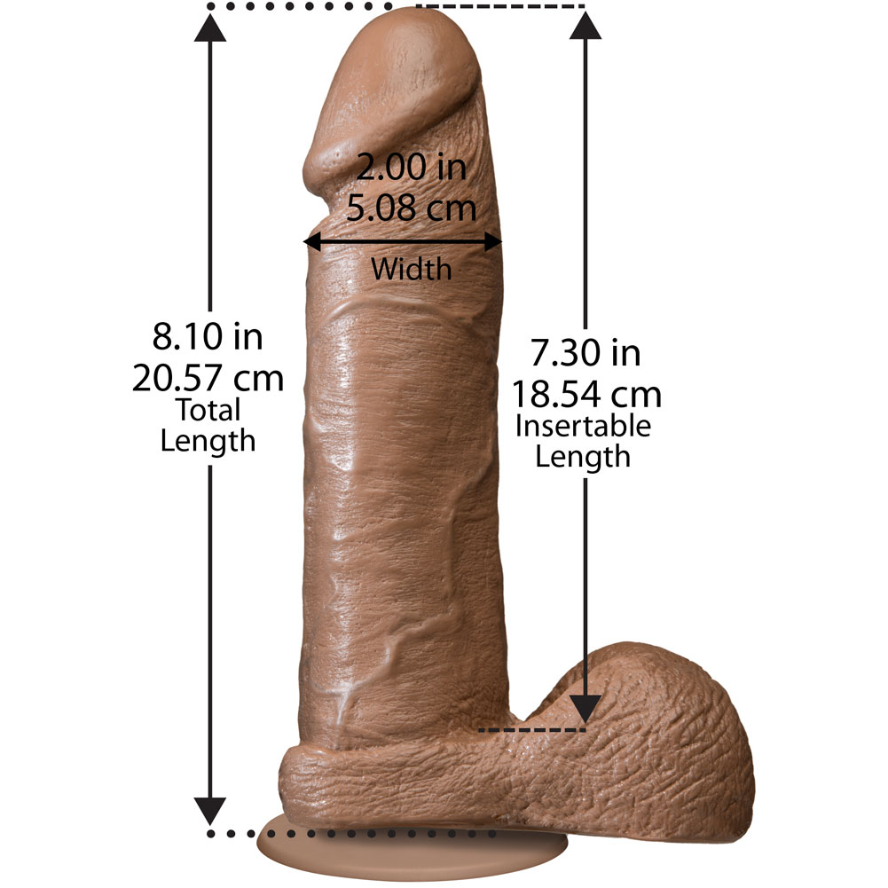 "Realistic Cock with Balls Dong 8.75"" Brown Vac U Loc Compatible - View #1"