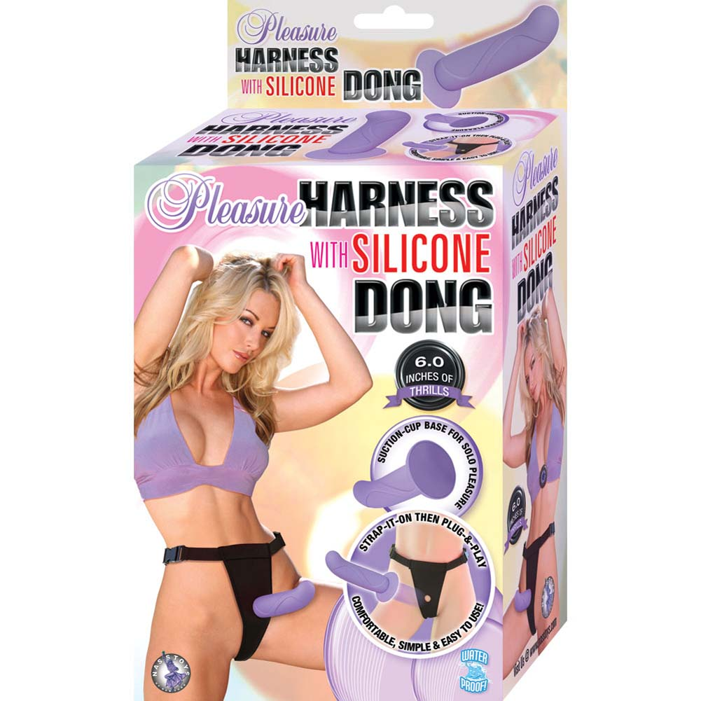 "Pleasure Harness with Removable Silicone Dong 6"" Lavender - View #4"