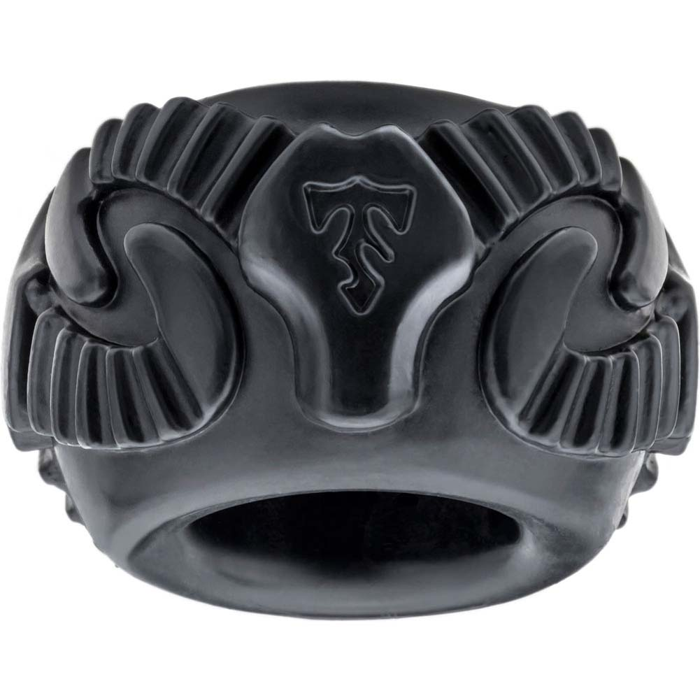 Perfect Fit Tribal Son Single Ram Penis Ring Ice Black - View #2