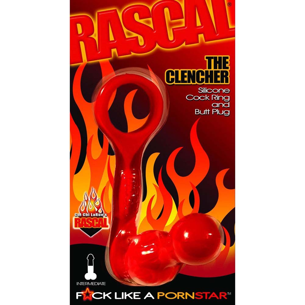 Rascal Toys the Clencher Expert Silicone Cock Ring Butt Plug Red - View #1