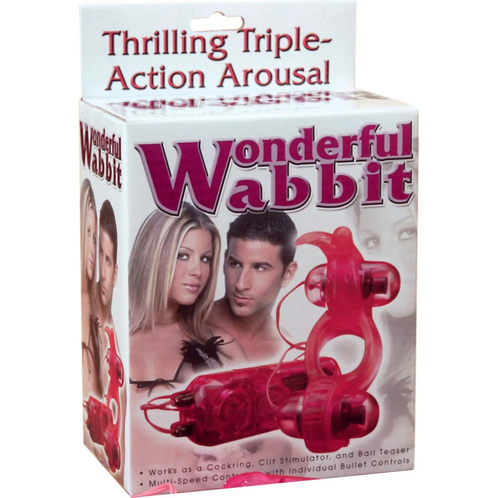 Wonderful Wabbit Vibrating Dual Bullet Cockring for Couples Pink - View #1