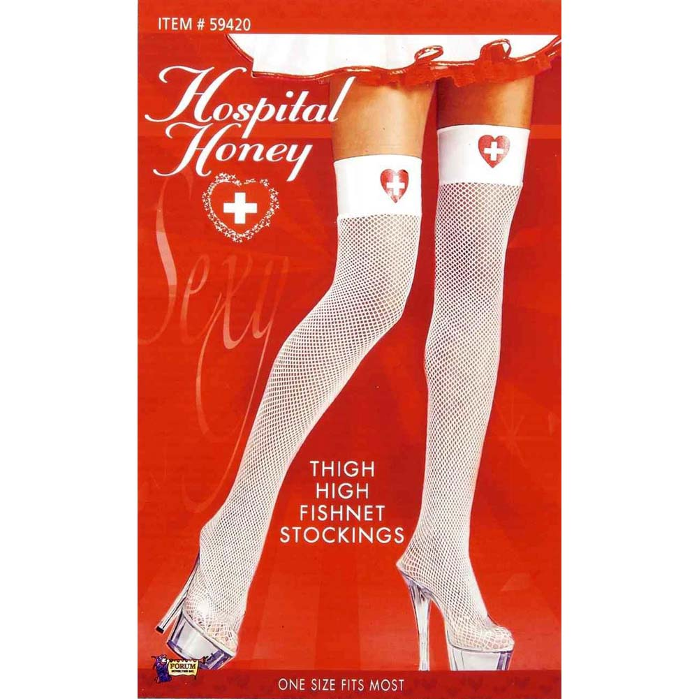 Hospital Honey Nurse Thigh High Stockings One Size Whtie - View #2