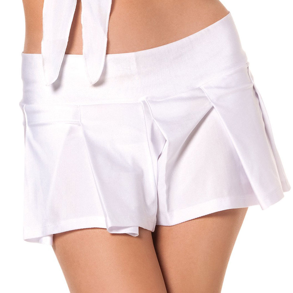 Solid Color Pleated School Girl Skirt White S/M - View #1