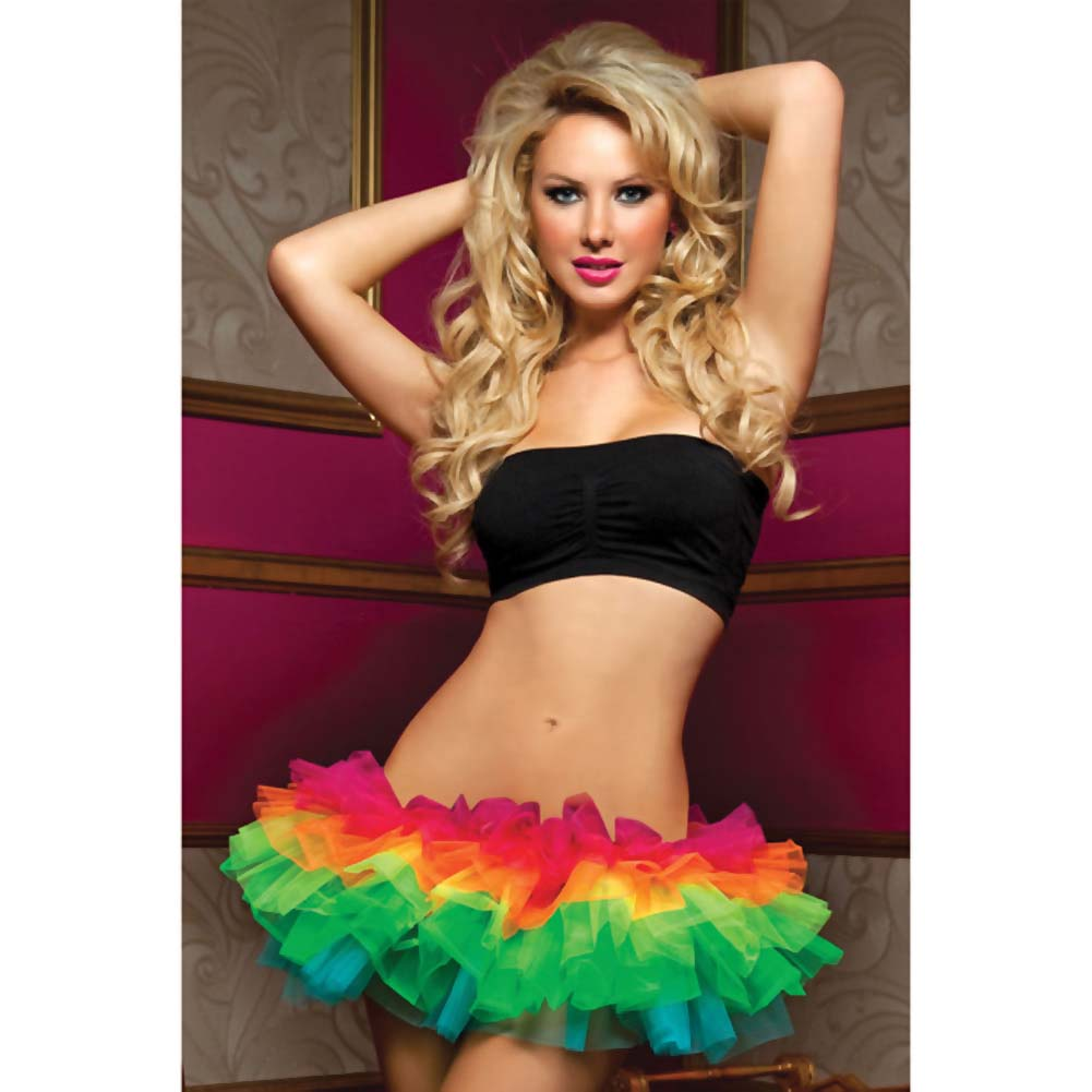 Multi Layer Tulle Tutu W/Elastic Waistband Rainbow O/S - View #1
