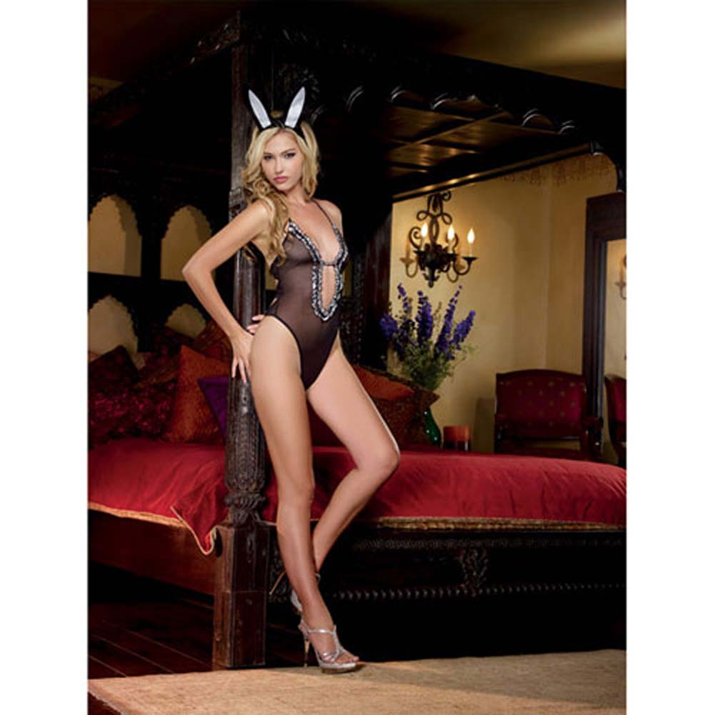 3 Pc Bunny Babe Stretch Mesh Halter Teddy W/Bunny Tail Bunny Ears Black O/S - View #1