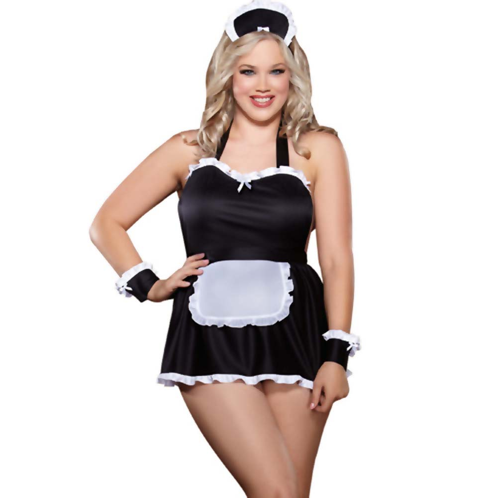 Dreamgirl Maid Me Dirty Babydoll Maid Cap French Cuffs and Panty Queen Size Black/White - View #1