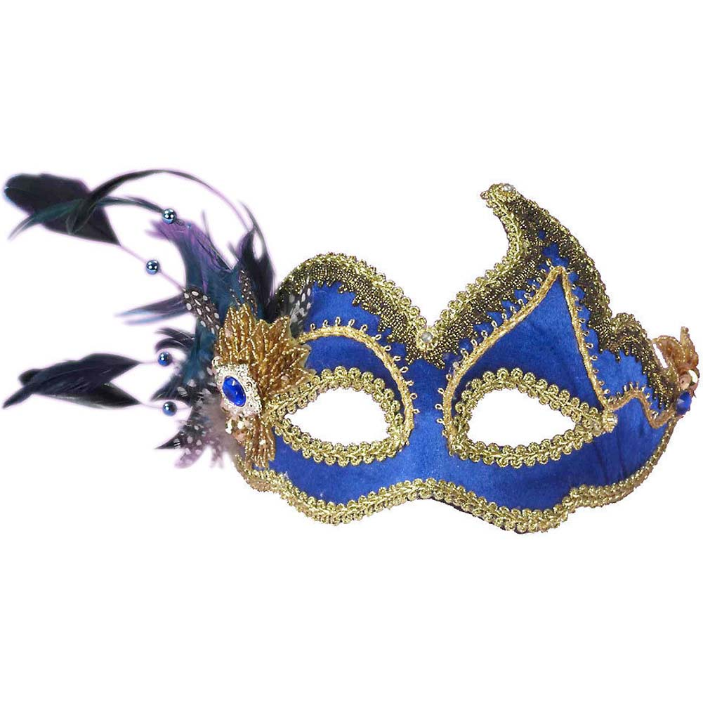 Fancy Venetian Mask One Size Blue - View #1