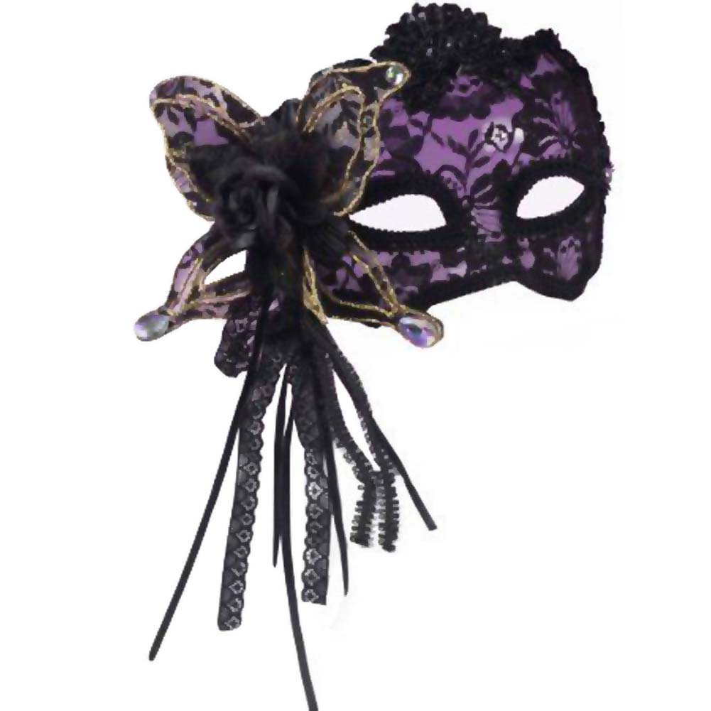 Karneval Half Mask Butterfly Rose Lace Black - View #1