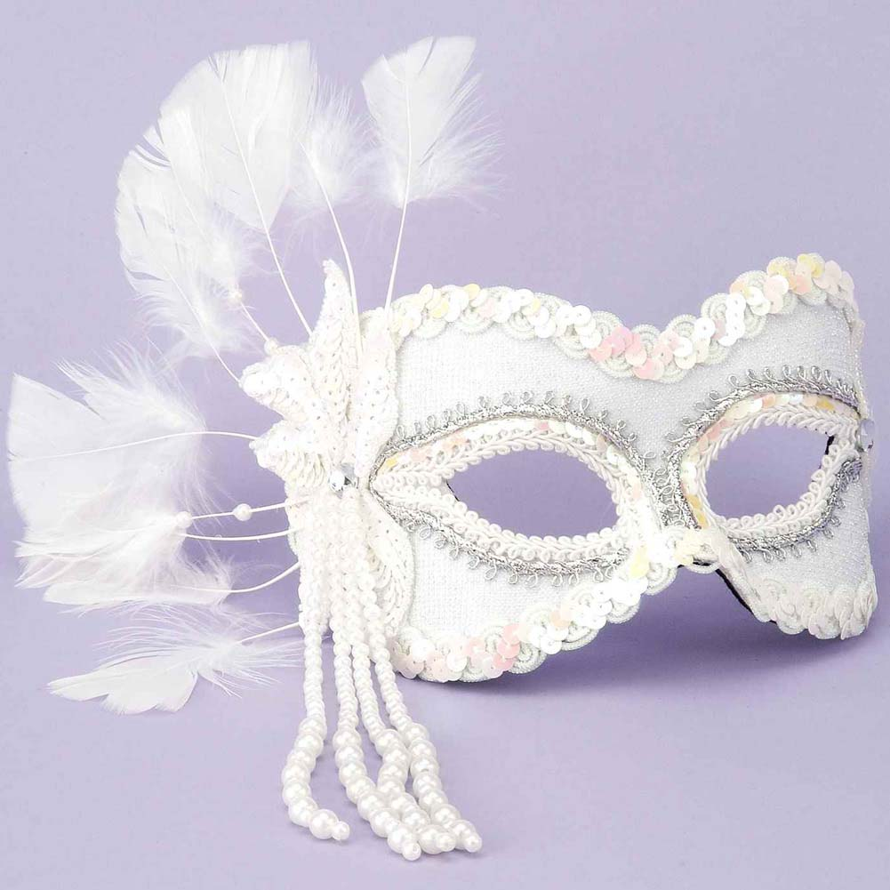 Karneval Venetian Fantasy Mask with Feathers and Beads White - View #1