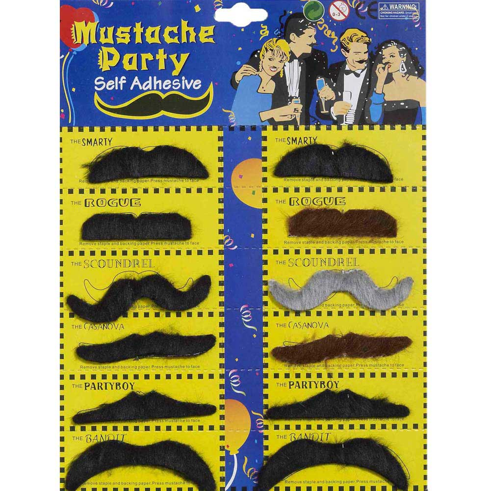 Mustache Party Self Adhesive - Card of 12 - View #1