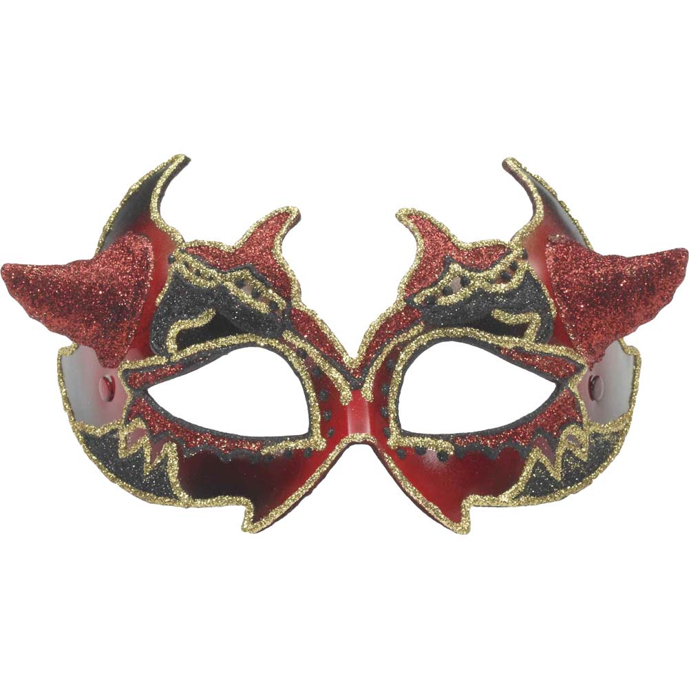 Venetian Mask Demon with Horns Red/Gold - View #1