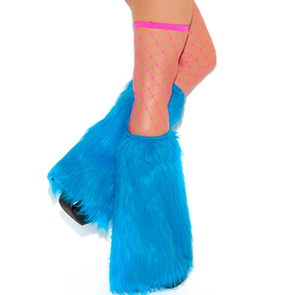 Neon Nites Furry Boot Covers Neon Blue O/S - View #2