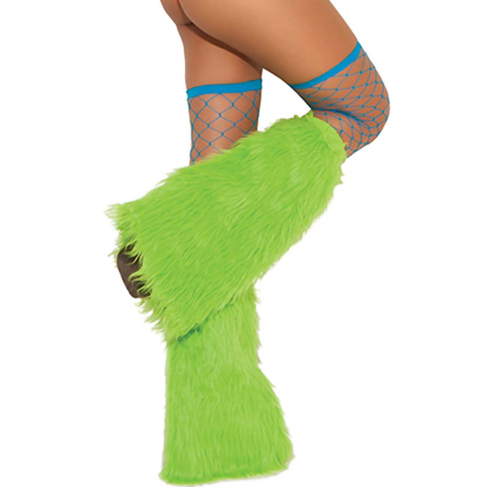Neon Nites Furry Boot Covers One Size Neon Green - View #1