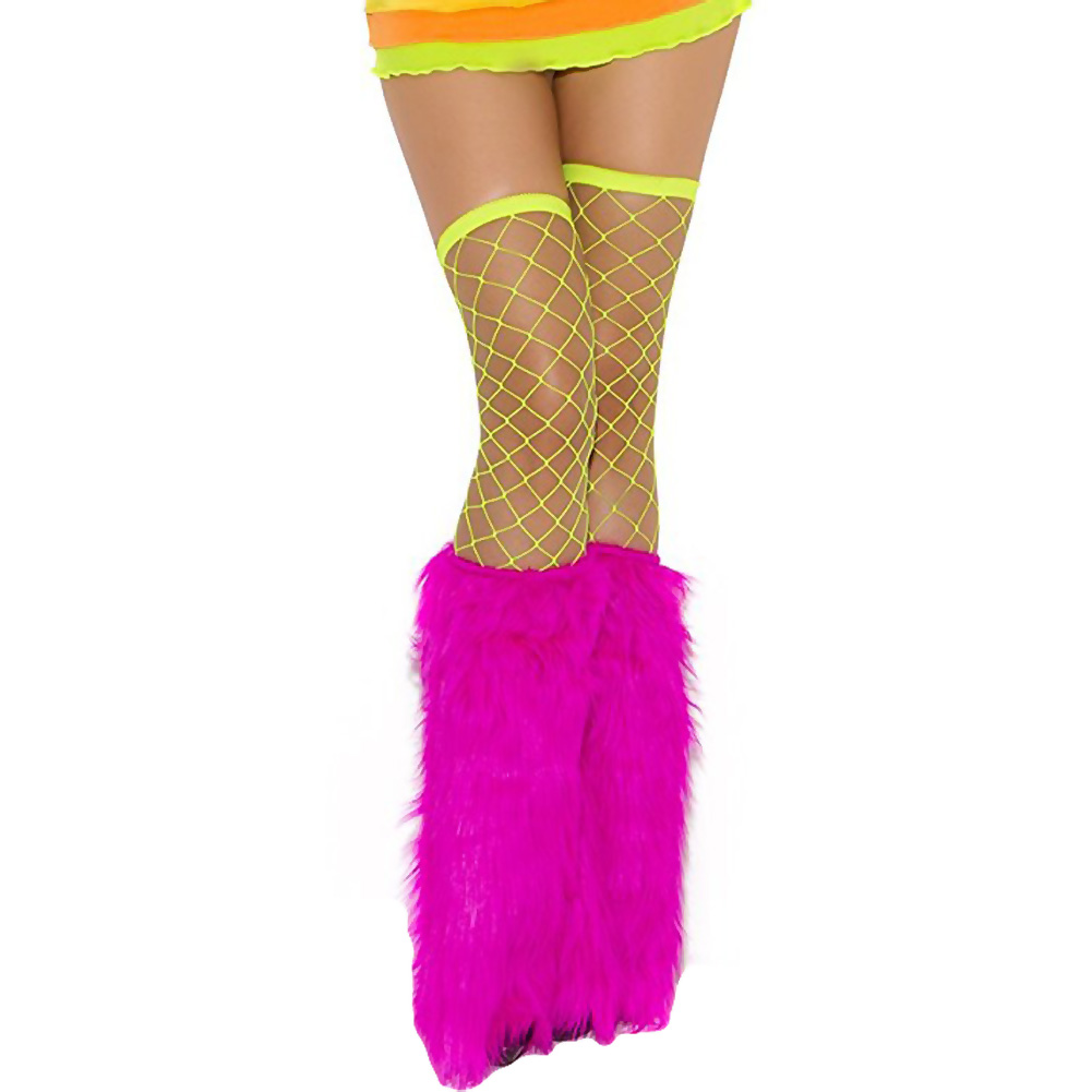 Neon Nites Furry Boot Covers One Size Neon Pink - View #2