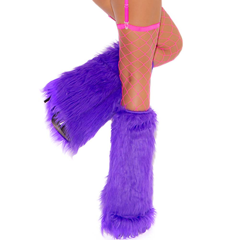 Neon Nites Furry Boot Covers One Size Neon Purple - View #1
