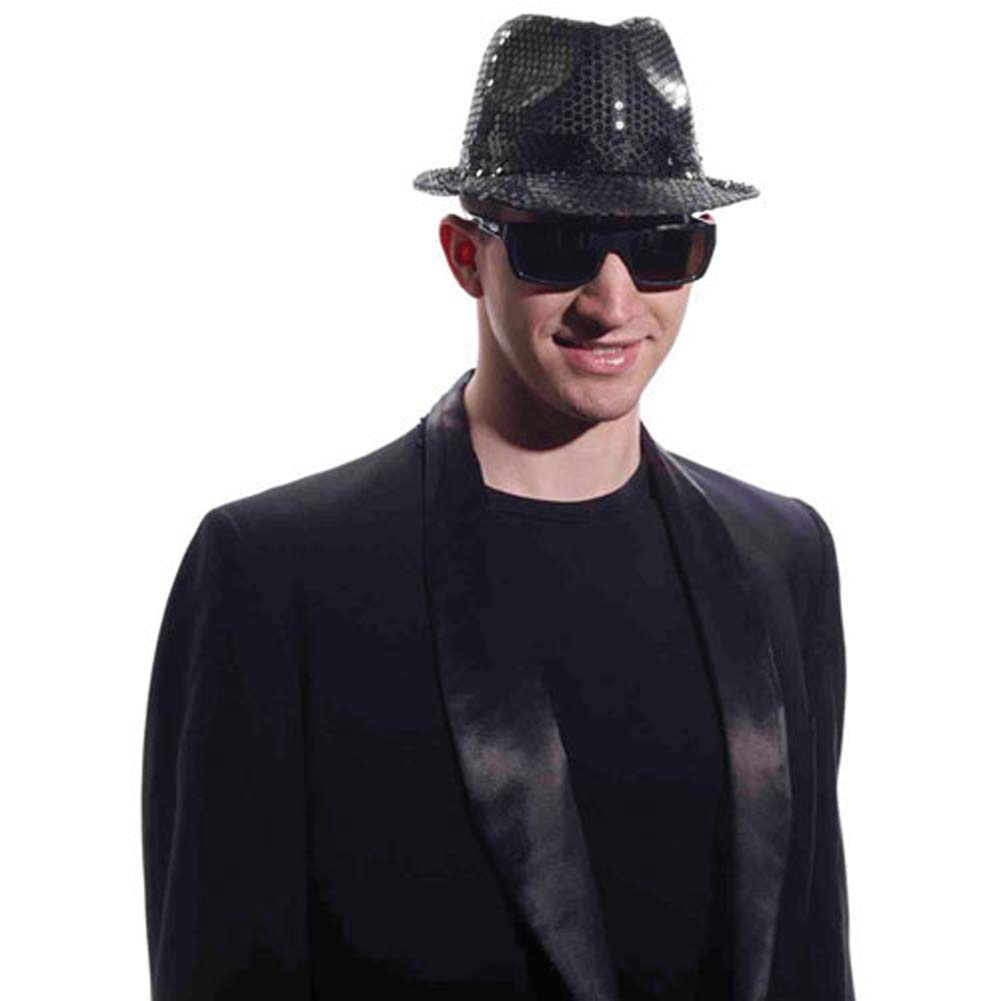 Sequined Fedora W/Lights - Black - View #1