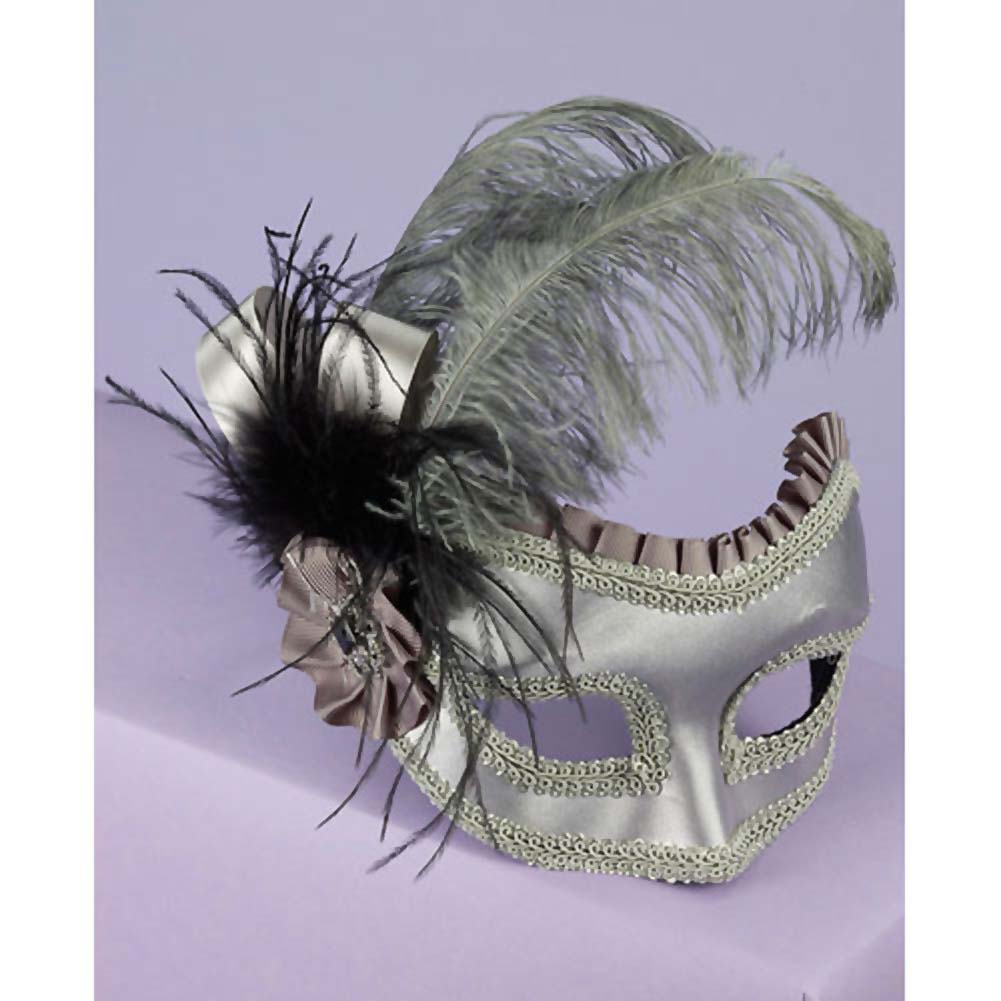 Venetian Satin Feather Half Mask. Silver - View #2
