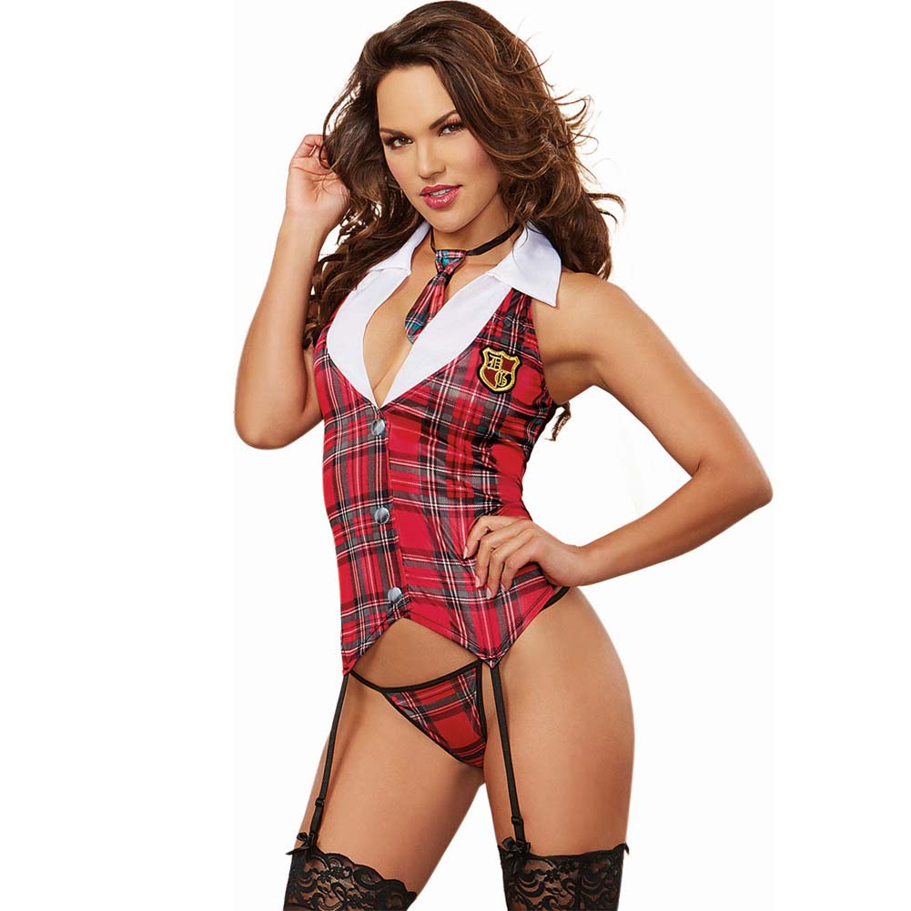 5 Pc Stretch Knit Vest W/Garters Attached Shirt W/Collar Belt Thong Neck Tie Red Plaid O/S - View #1