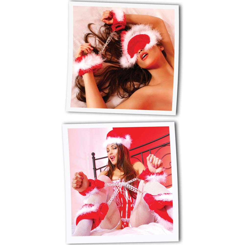 Fetish Fantasy Xmas Plush Cuff Set Kinky Christmas Sex Kit for Lovers Red - View #4
