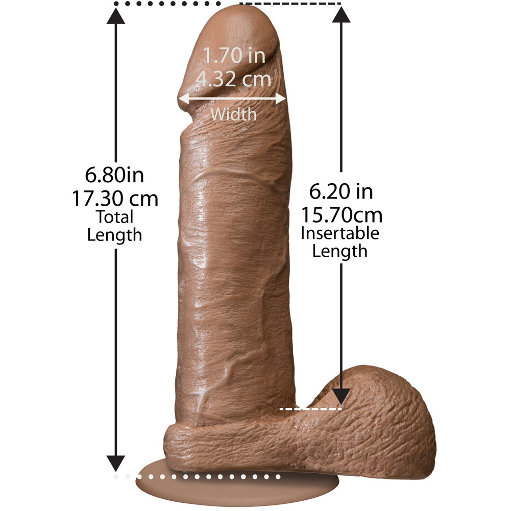 "Realistic Cock with Balls Dong 6"" Brown W/Vac U Loc Suction Cup Attachment - View #1"